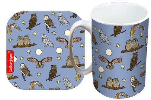 Selina-Jayne Owls Limited Edition Designer Mug and Coaster Gift Set